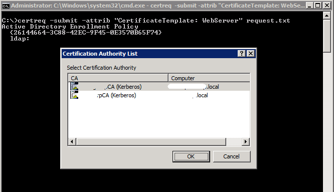 the permissions on the certificate template
